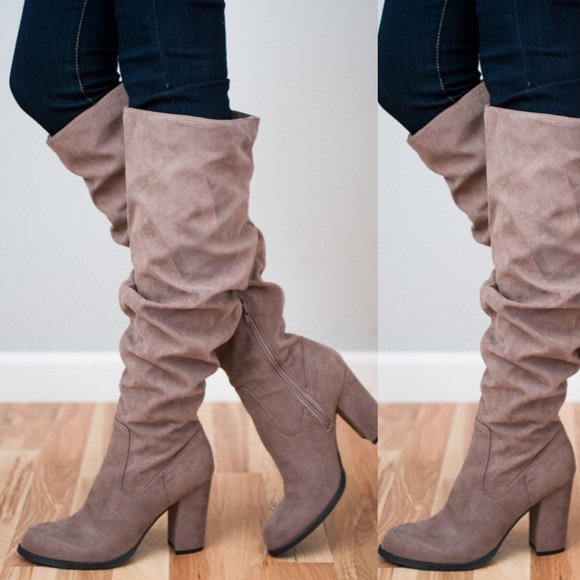 9661f609994 🆕 Madden Girl Cinder Knee Boots Taupe NWT